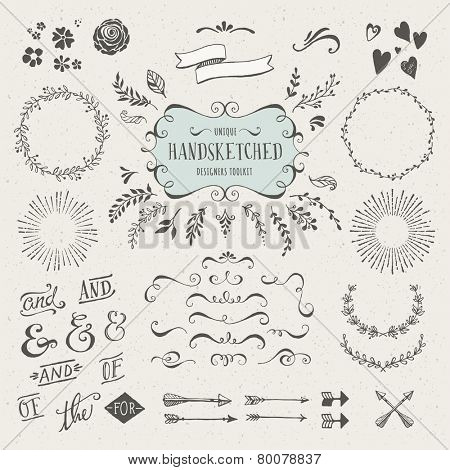 collection of more than 60 hand-sketched elements - florals, calligraphic elements, arrows, ampersan