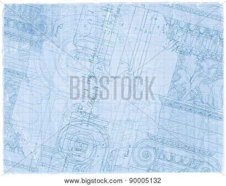 Blueprint - hand draw sketch ionic architectural order based \
