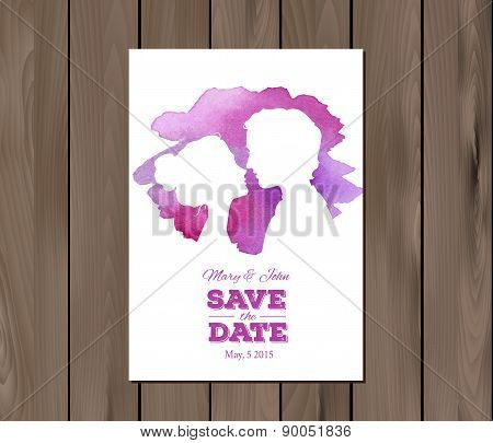 Save the date wedding invitation with watercolor elements and profile silhouttes of man and woman. Card template on a wooden background. EPS 10 vector. Free fonts used - Nexa Rust, Alex Brush, Crimson stock photo