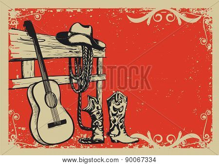 Vintage Poster With Cowboy Clothes And Music Guitar