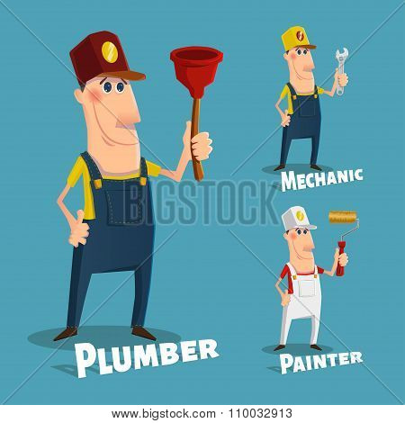 Set of professions in cartoon style eps10 vector format stock photo