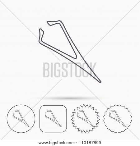 Eyebrow tweezers icon. Cosmetic equipment sign. Aesthetic beauty symbol. Linear circle, square and star buttons with icons. stock photo