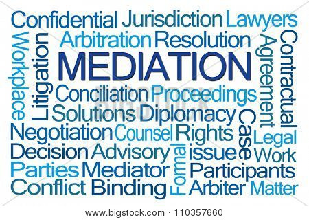 Mediation Word Cloud on White Background stock photo