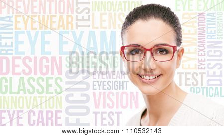 Smiling young fashion model wearing red stilysh glasses eye care concepts and words on background stock photo
