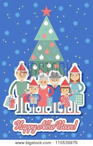 Vector illustration of big family with shopping. Grandma and grandpa children grandchildren. stock photo