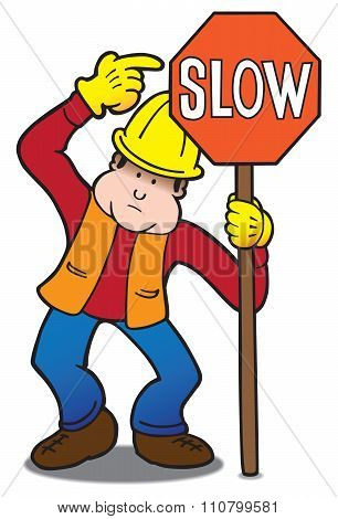 Flagger in safety vest is pointing to slow sign that he is holding stock photo