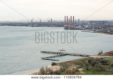Top view of the shipyard Zaliv in Kerch Crimea stock photo