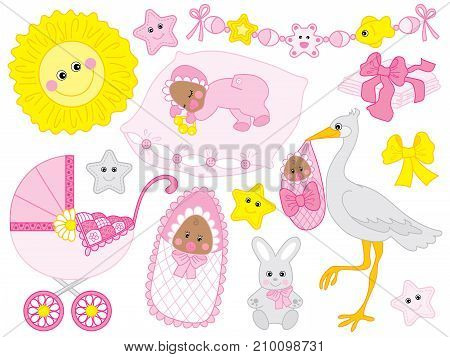 Vector set for baby girl shower. Set includes cute African American baby girl, stroller, stork,  sun, diapers  and toys. Vector baby girl shower. African American baby girl Vector illustration stock photo