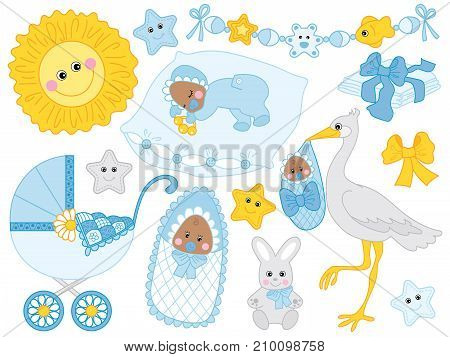 Vector set for baby boy shower. Set includes cute African American baby boy, stroller, stork,  sun, diapers  and toys.. Vector baby boy shower. African American baby boy Vector illustration stock photo
