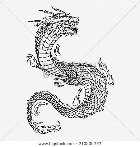 Chinese dragon hand drawn vector sketch illustration. Black and white drawing stock photo