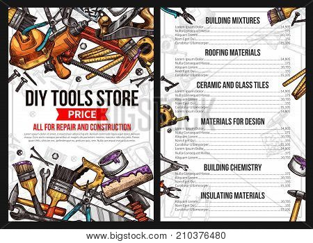 DIY work tools store price list for house repair or handyman construction service. Vector sketch building mixture, roofing material ceramic and glass tile for interior design, chemistry and insulating stock photo