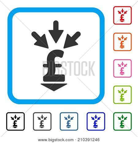 Integrate Pound Payment icon. Flat grey pictogram symbol inside a light blue rounded squared frame. Black, gray, green, blue, red, orange color additional versions of Integrate Pound Payment vector. stock photo