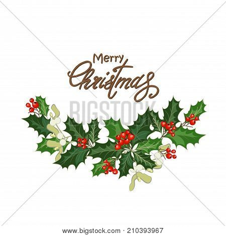 Greeting Christmas card with holly berries mistletoe and lettering. Design element for Christmas invitation. Vector illustration with Christmas decorations. stock photo