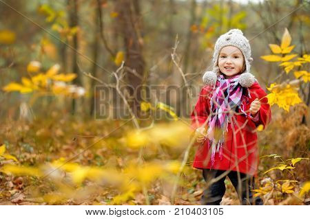 Cute little girl having fun on beautiful autumn day. Happy child playing in autumn park. Kid gathering yellow fall foliage. Autumn activities for children. stock photo