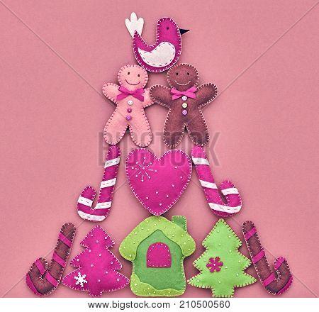 XMAS Design Ornament. Christmas holiday, Happy Gingerbread, like Christmas tree Fir. Colorful background decoration Handmade, Fun New Year. Festive Art christmas Greeting Card. Vintage stock photo
