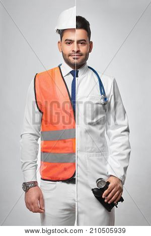 Combined studio portrait of a man dressed in constructionist uniform and labcoat architector engineering building construction doctor medical worker medicine healthcare insurance safety. stock photo