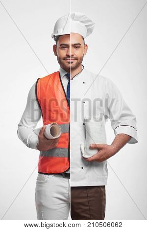 Vertical combined studio portrait of an attractive young bearded man dressed as a professional architect in safety vest and hardhat and a chef cook eating food healthy nutrition building. stock photo