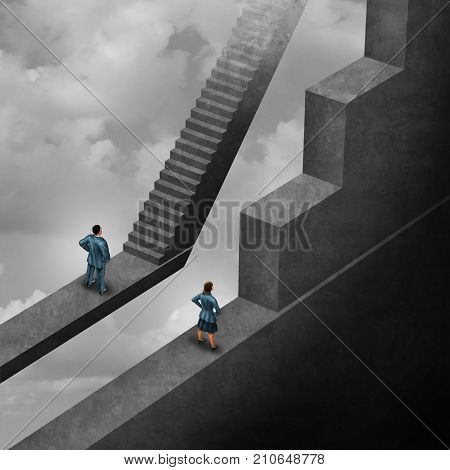 Gender discrimination and sexism inequality for being female concept as a woman with the burden of climbing a difficult obstacle and a man with easy path stairs as a 3D illustration symbol as a symbol for unfair gender bias. stock photo