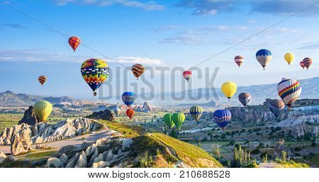 The great tourist attraction of Cappadocia - balloon flight. Cappadocia is known around the world as one of the best places to fly with hot air balloons. Goreme Cappadocia Turkey