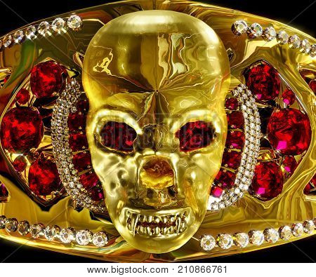 Gold jewellery with skull archaeological artifact from hoard pirate in museum. Antiques jewelry with diamond and ruby gems magical treasure archeology. Ritual thing lost civilizations. 3D rendering. stock photo