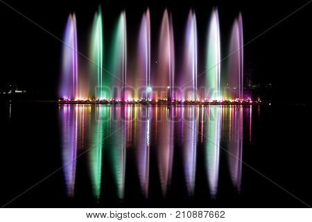 Musical fountain at the zoo in Thailand,Colorful musical fountain stock photo