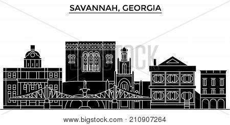Usa, Savannah, Georgia architecture vector city skyline, black cityscape with landmarks, isolated sights on background