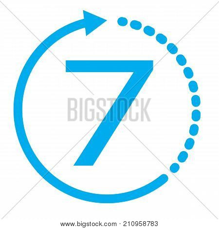 return of goods within 7 days icon. 7 days on white background. blue seven days service icon. warranty exchange symbol. stock photo