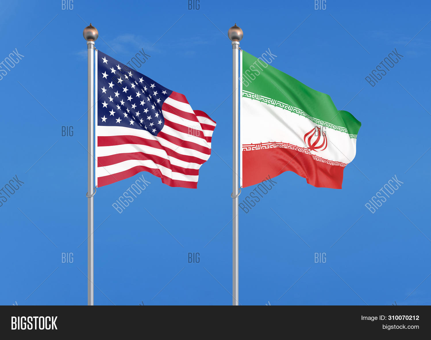 United States of America vs Iran. Thick colored silky flags of America and Iran. 3D illustration on sky background. - Illustration