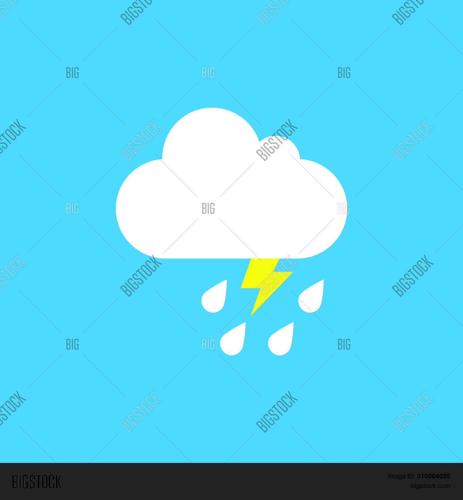 Cloudy Weather With Rain And Thunderstorm. Vector Weather Icon For Smartphone And Website Cloud With