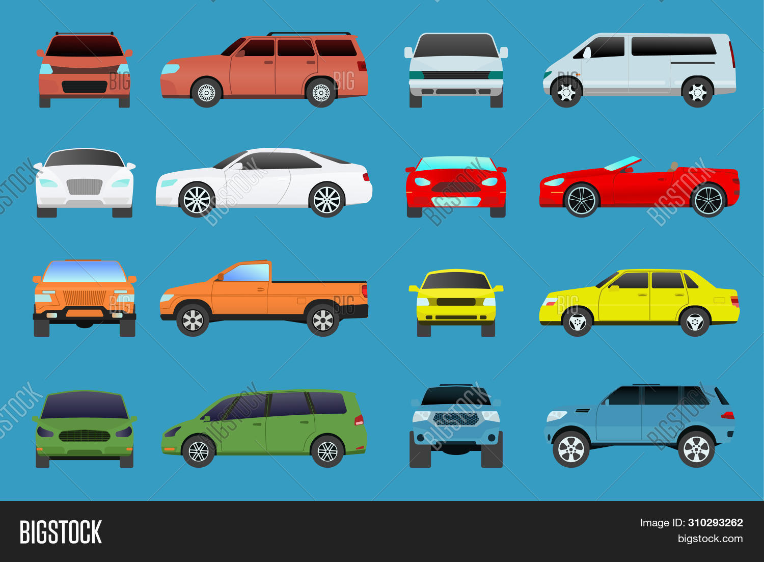 Car Type Model Vehicle Objects Icons Set Multicolor Automobile Supercar. Wheel Symbol Car Types Coup