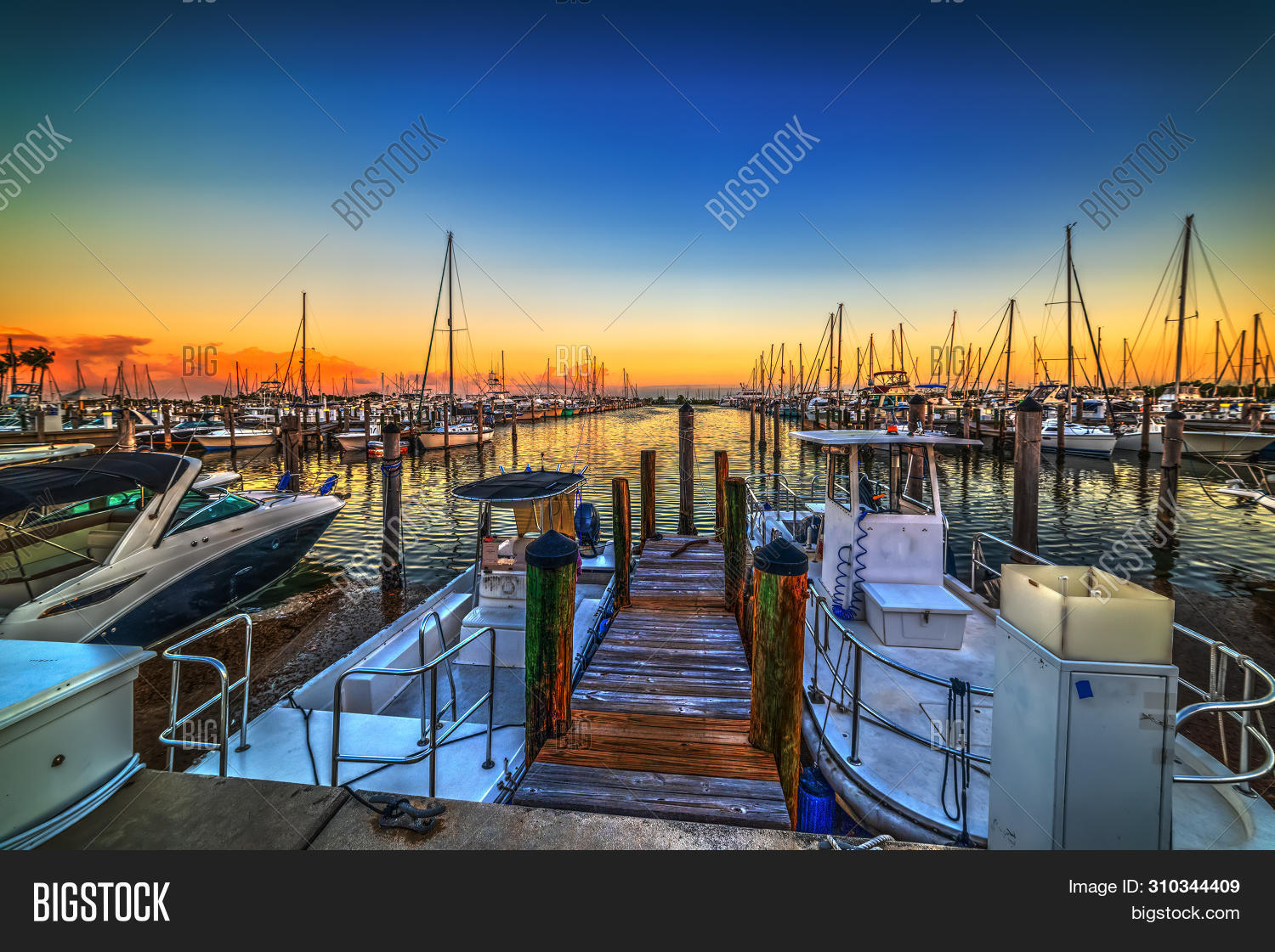 Boats In Coconut Grove Harbor At Sunset. Florida, Usa