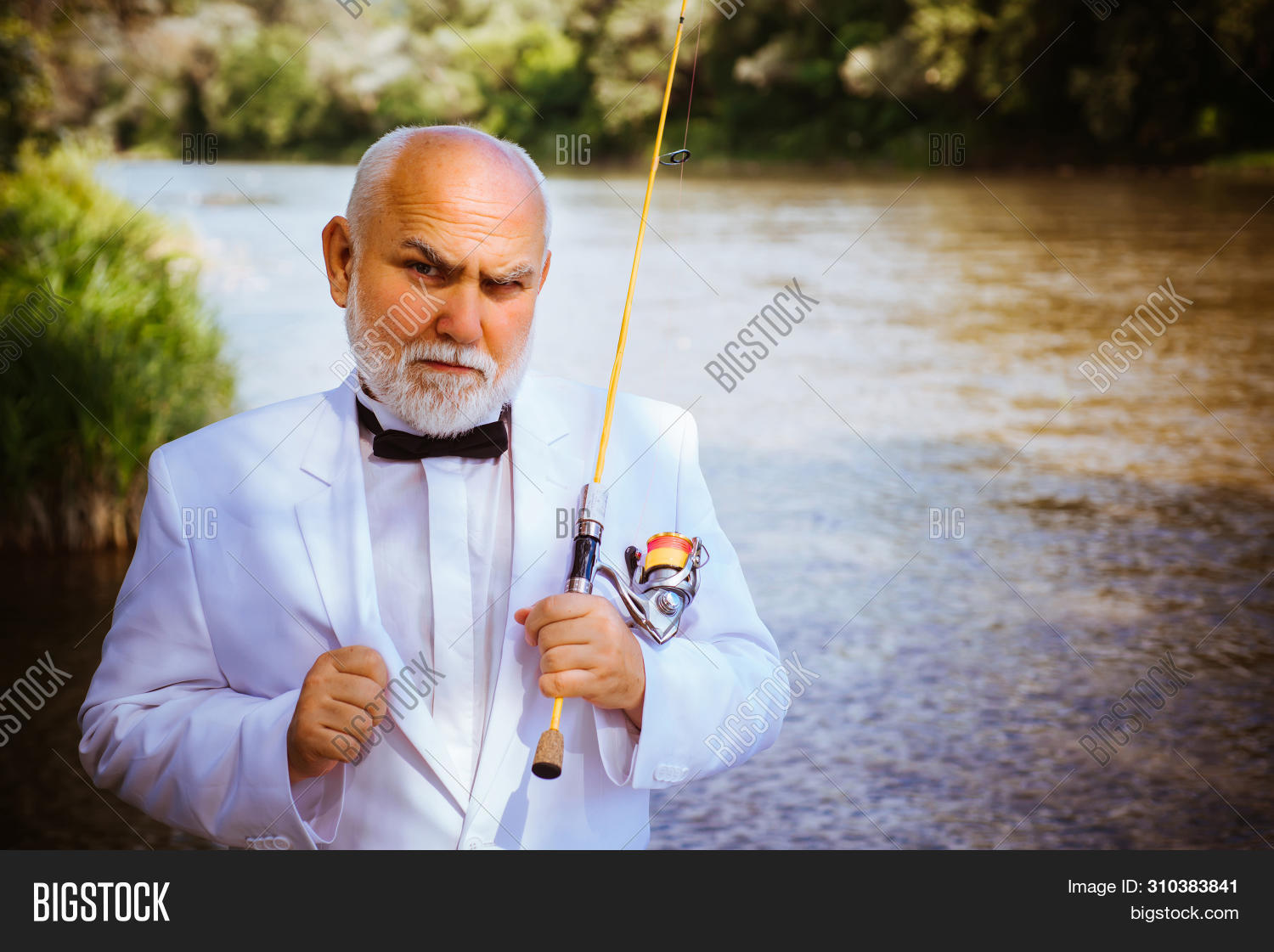 Fishing Became A Popular Recreational Activity. Fly Fishing. Fly Fisherman Using Fly Fishing Rod In