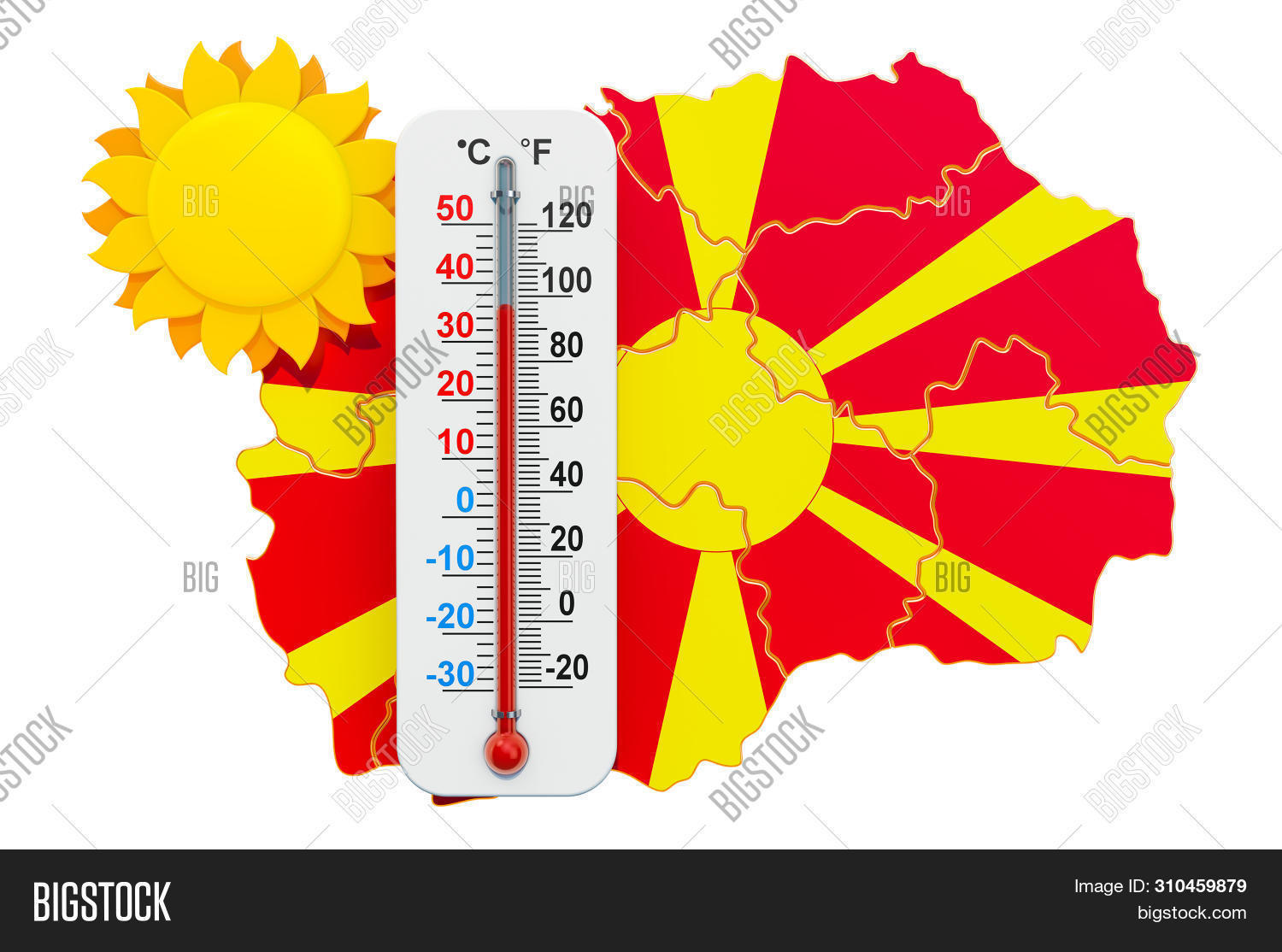 Heat In Macedonia Concept. 3d Rendering Isolated On White Background