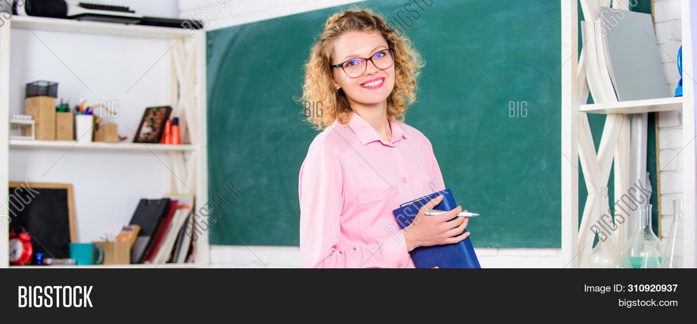 Teacher Pretty Woman Enjoy Educational Process. Onstantly Learning New Skills. Girl Adorable Teacher