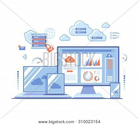 Cloud Technology Services Data Center Connection Hosting Server Database Synchronize Storage Login page and password on monitor screen, server, phone, tablet, laptop. Vector illustration on white stock photo