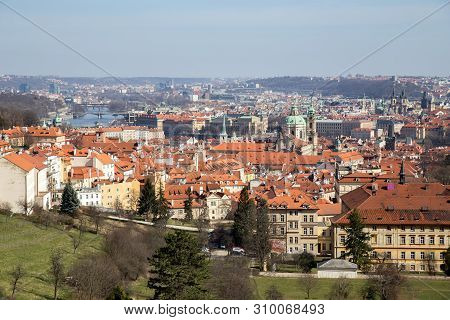 Prague, Czech Republic - March 16, 2017: View over the city from Strahov Monastery. stock photo