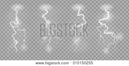 Storm lightnings. Blitz realistic electric sky lightning on transparent background with power strike effects vector striking illustration stock photo