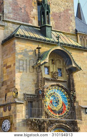 Beautiful Prague astronomical clock, Orloj, on the Old Town Square in Prague, Bohemia, Czech Republic. Famous tourist place. Golden hour light. Praga, Czechia. Amazing cities. Architecture stock photo