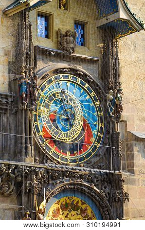 Prague Astronomical Clock, Bohemia, Czech Republic. Mounted on the southern wall of Old Town Hall in the Old Town Square of the Czech capital. Famous tourist attraction. Orloj, Praga, Czechia stock photo