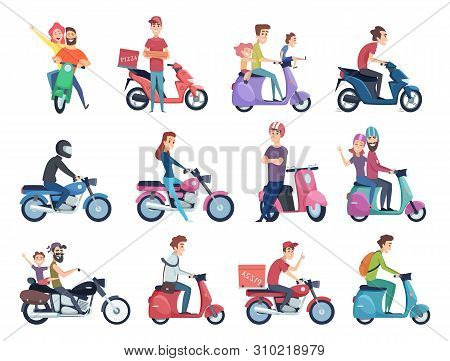 Motorcycle riders. Male and female drivers in helmet on bike fast courier characters vector pictures collection. Motorcycle driver courier, bike scooter delivery, moped deliver illustration stock photo
