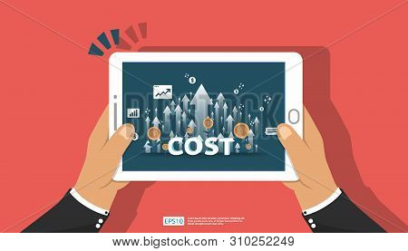 arrow increase for cost reduction concept . business management at lost crisis and bankrupt situation. finance expenses and profit improvement illustration for banner or background vector template. stock photo