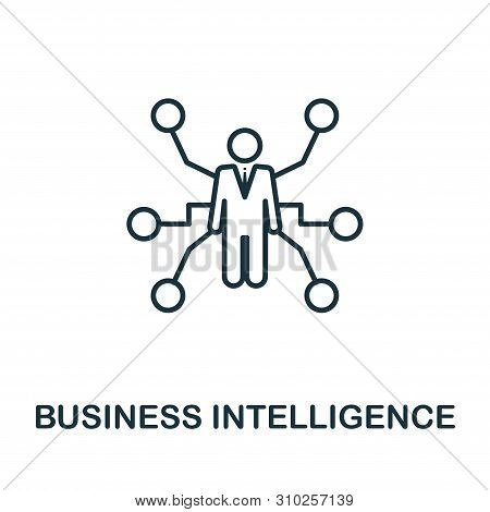Business Intelligence outline icon. Thin line concept element from business management icons collection. Creative Business Intelligence icon for mobile apps and web usage stock photo