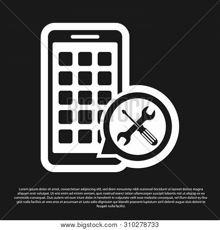 Black Mobile Apps with screwdriver and wrench icon isolated on black background. Adjusting, service, setting, maintenance, repair, fixing. Vector Illustration stock photo