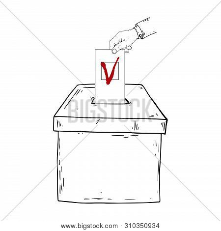 Ballot box. A hand holds a voting ballot with a check mark, form, list icon. Vector illustration box for vote. Ballot box for voting in elections hand drawn. Wrist. stock photo