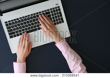 Young Female Specialist Win Formal Wear Working With Her Laptop.