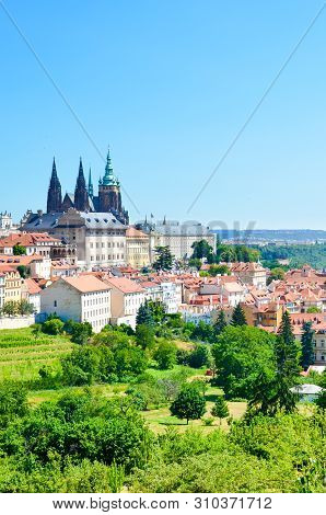 Beautiful skyline of Prague, the Czech capital, captured from the Petrin hill in the city center. Prague Castle and St. Vitus Cathedral. Amazing citiscapes. Praga, Czechia stock photo