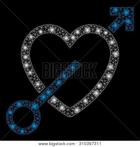 Glowing mesh love arrow with lightspot effect. Abstract illuminated model of love arrow icon. Shiny wire frame triangular mesh love arrow. Vector abstraction on a black background. stock photo