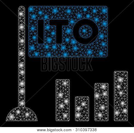 Glowing mesh ITO bar chart with glitter effect. Abstract illuminated model of ITO bar chart icon. Shiny wire carcass polygonal mesh ITO bar chart. Vector abstraction on a black background. stock photo