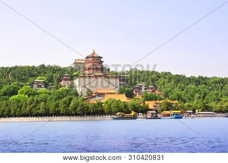 Imperial Summer Palace in Beijing, China. Longevity Hill on the Kunming Lake, Summer Palace complex, an Imperial Garden in Beijing. UNESCO World Heritage site stock photo