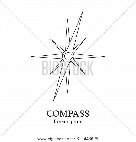 Compass icon. Travel company logo template. Abstract symbol of adventure. Clean and modern illustration. stock photo